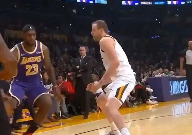 Lebron James bullied his way to the basket….